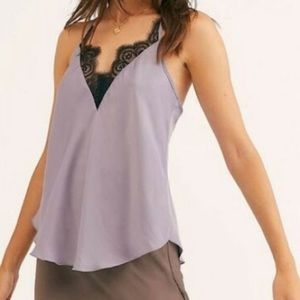 Free People Starlight Camisole in Silver Mauve NWT